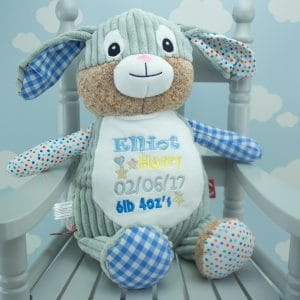 'Personalised Blue Patchwork Bunny Soft Toy'