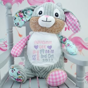 """Personalised Pink Patchwork Bunny Soft Toy"""