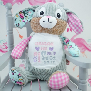 """""""Personalised Pink Patchwork Bunny Soft Toy"""""""