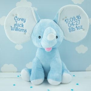 """Personalised Blue Dumble Elephant"""