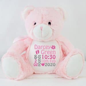 personalised baby girl teddy bear
