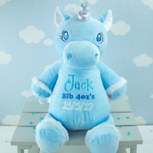 Personalised Blue 'Aurora' Unicorn Cubbie