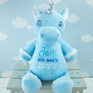 Personalised unicorn soft toy - blue