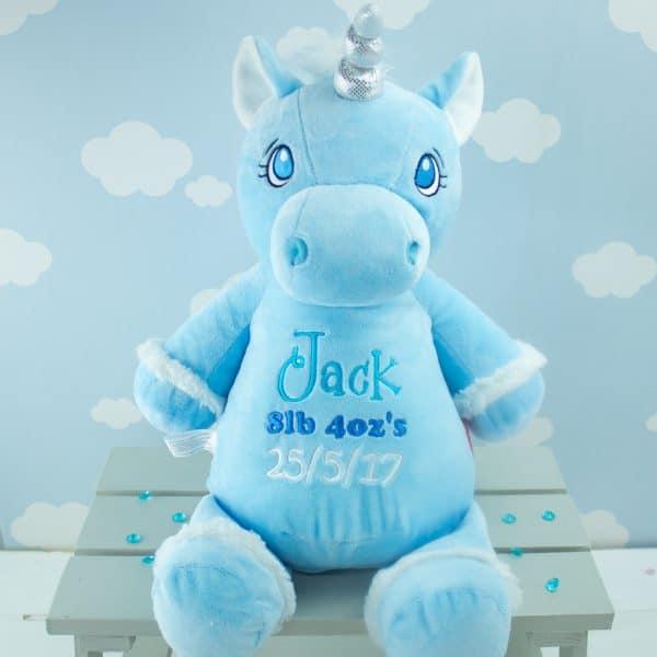 Personalised unicorn soft toy - blue