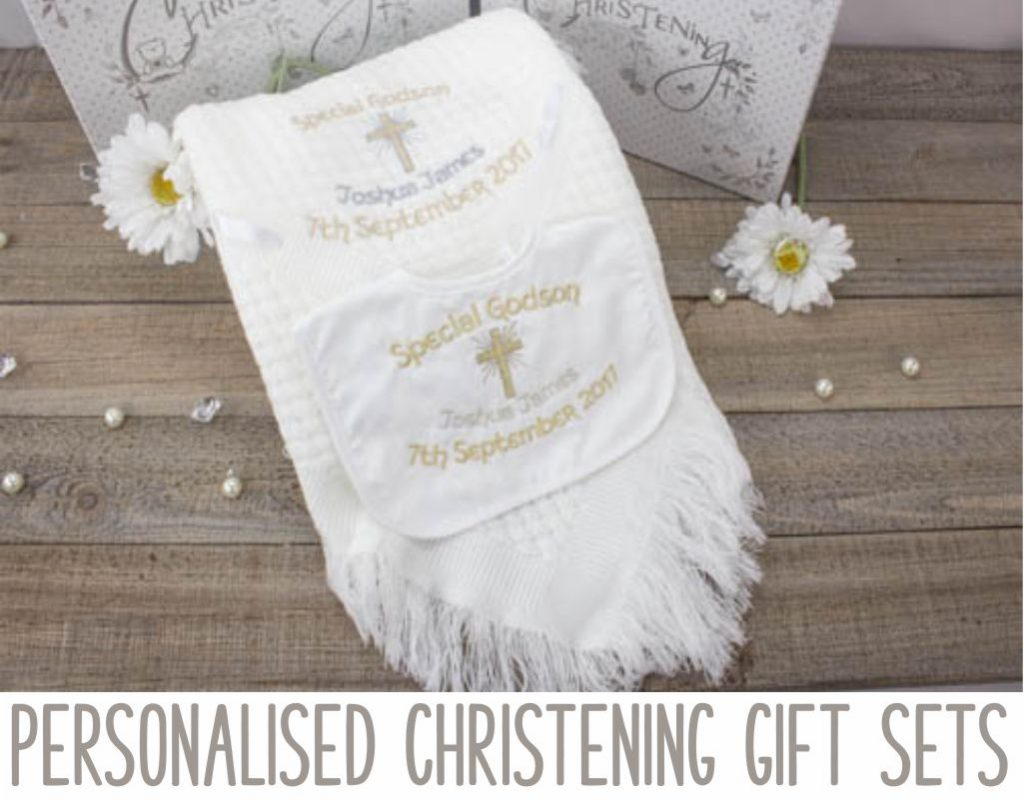 Personalised christening shawl and bib gift sets