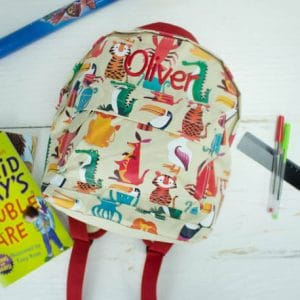 Personalised kids backpack - colourful creatures