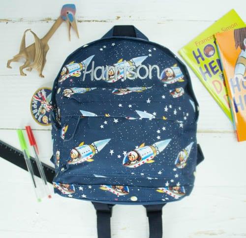 Personalised kids backpack - spaceboy