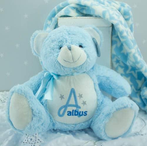 personalised baby boy Teddy bear - baby blue