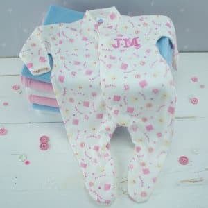 Personalised White Baby Girl Sleepsuit - Flower Baby