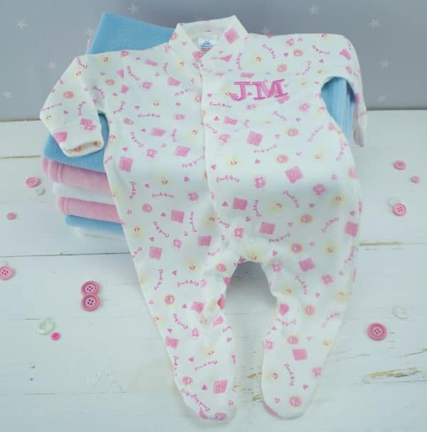 personalised baby girl sleepsuit - white flower baby