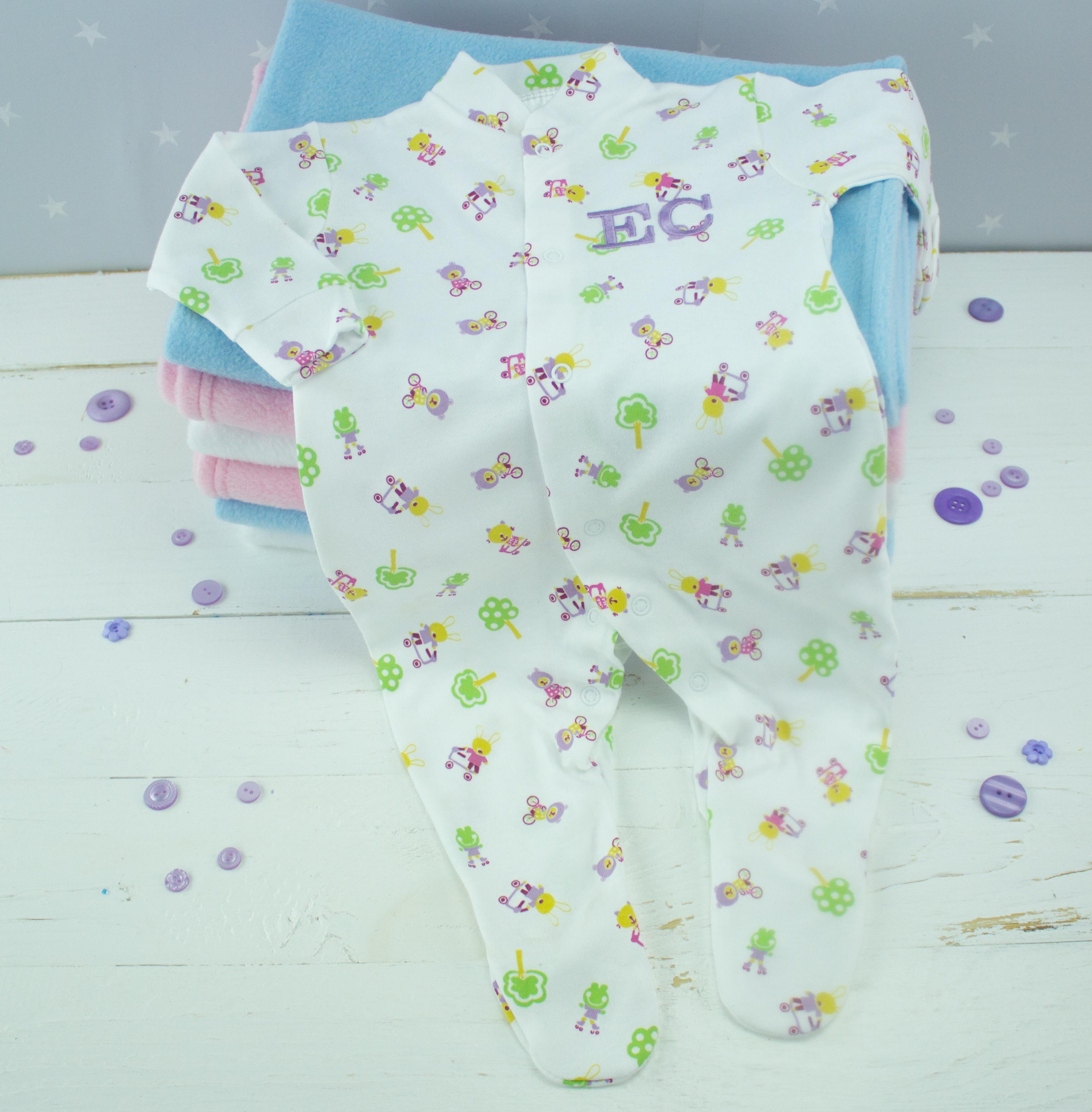 096839f68 Personalised White Baby Girl Sleepsuit - Nature Print   Heavensent ...