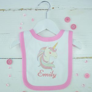 Personalised Baby Girl Unicorn Bib