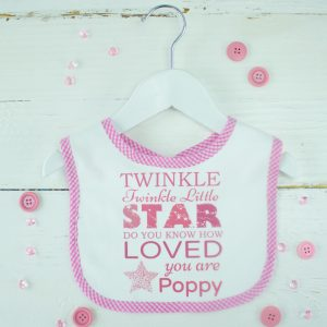 "Personalised Baby Girl Bib - ""Twinkle Twinkle Little Star"""