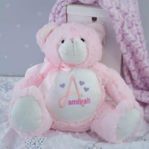 Personalised Baby Girl Pink Teddy Bear