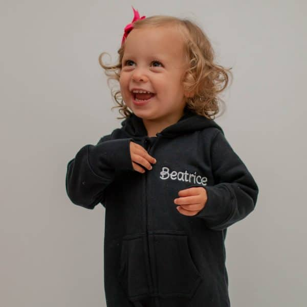 personalised baby & toddler oneise - black