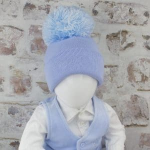 Baby Boy Blue Pom Hat