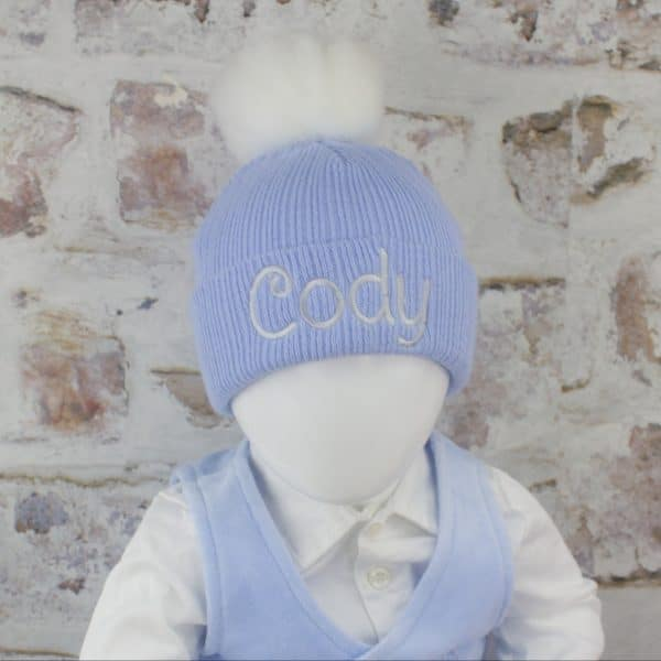 blue baby boy pom hat
