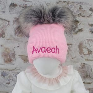 Pink Baby Double Fur Pom Hat