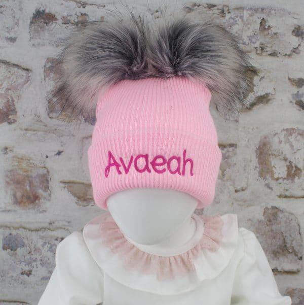 Pink Baby Girl Pom Hat