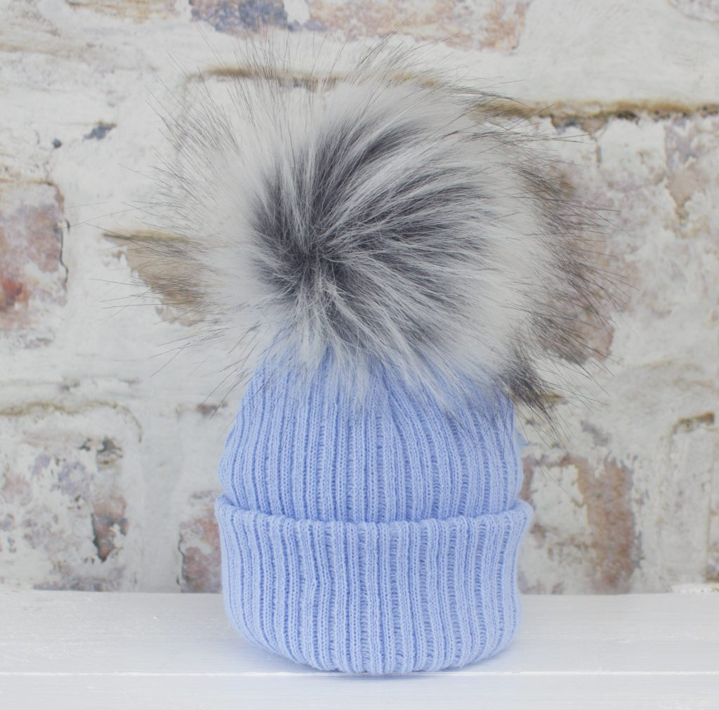 Luxury Blue Baby Fur Pom Hat  166b6c2d852