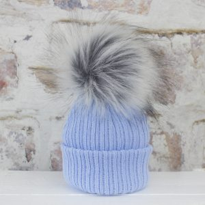 Luxury Blue Baby Fur Pom Hat