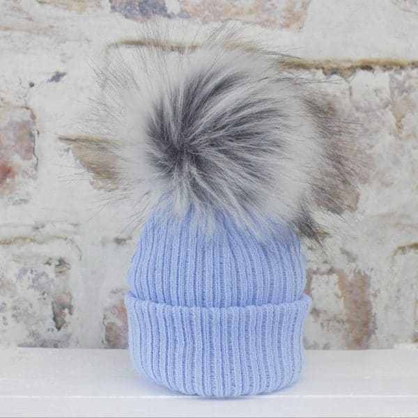 Luxury Blue Baby Fur Pom Hat Heavensent Baby Gifts