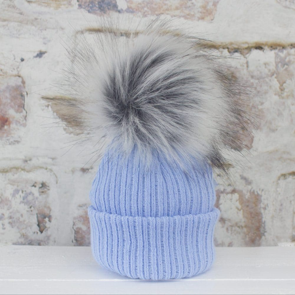 First Size Baby Royal Pom Hat with Princess//Prince Embroidery Bubble Hat Knit