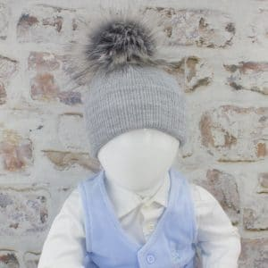 Grey Baby Fur Pom Hat