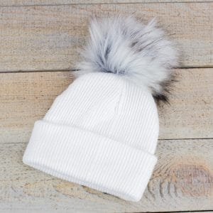 Personalised White Baby Fur Pom Hat