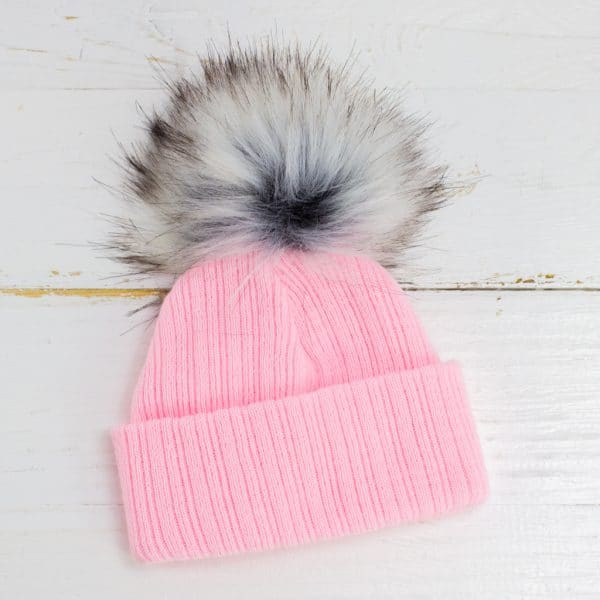 Personalised Baby Girl Pink Pom Hat