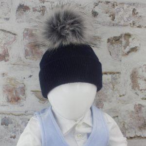 Luxury Navy Baby Fur Pom Hat