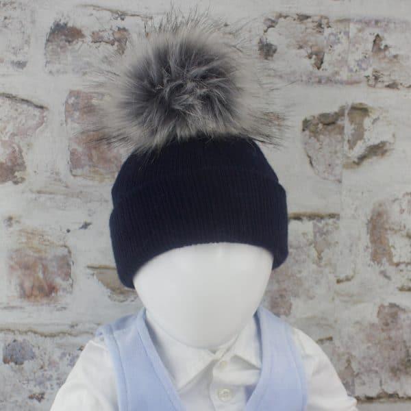 Navy Baby Fur Pom Hat