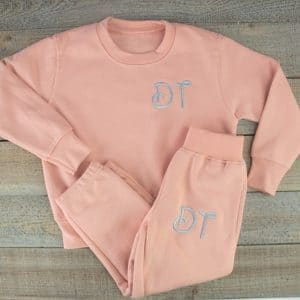 'Personalised Dusky Pink Baby & Toddler Tracksuit'