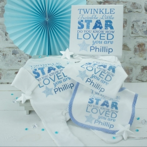 Personalised Boys 'Twinkle Twinkle' Baby Clothes Set & Gift Box