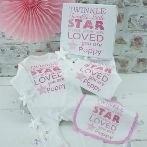 Personalised Girls 'Twinkle Twinkle' Baby Clothes Set & Gift Box
