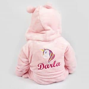 'Personalised Pink Unicorn Baby Dressing Gown'