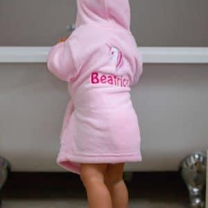 personalised pink baby house coat - unicorn