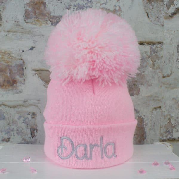 Baby Girl Pink Pom Hat