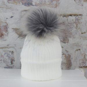 Luxury White Baby Fur Pom Hat