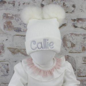 Luxury White Baby Double Fur Pom Hat