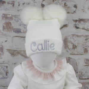 white baby winter hat