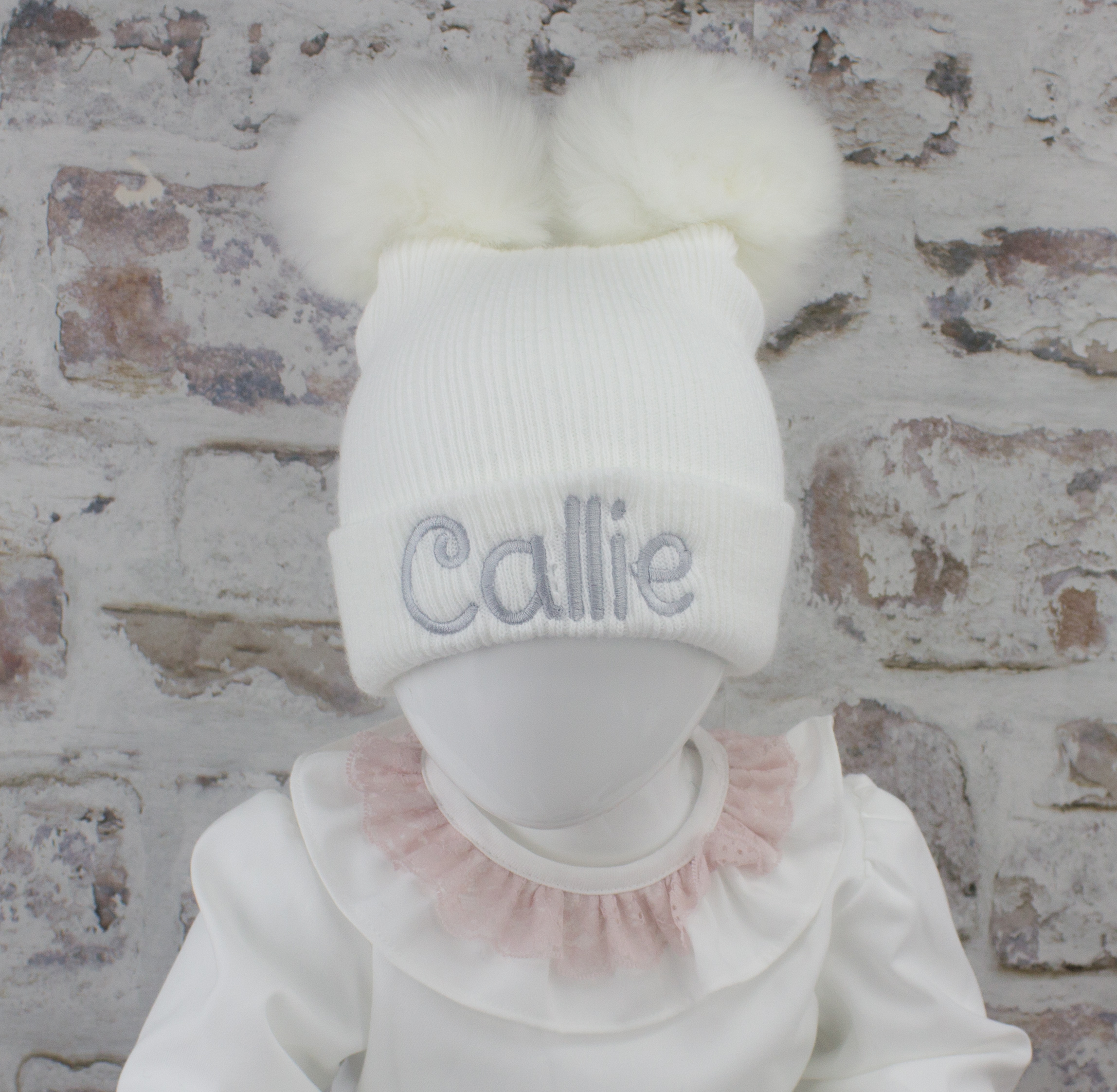 Luxury White Baby Double Fur Pom Hat Heavensent Baby Gifts