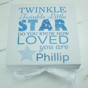 'Personalised Boys 'Twinkle Twinkle' Baby Keepsake Gift Box'