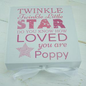 'Personalised Girls 'Twinkle Twinkle' Baby Keepsake Gift Box'