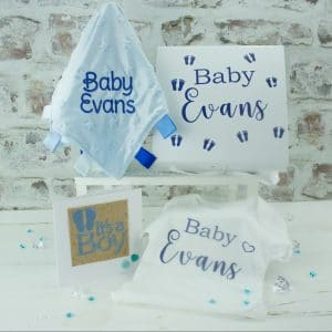 Personalised Boys Baby Shower Gift Set