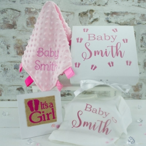 Personalised Girls Baby Shower Gift Set
