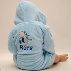 personalised blue baby dressing gown - dinosaur