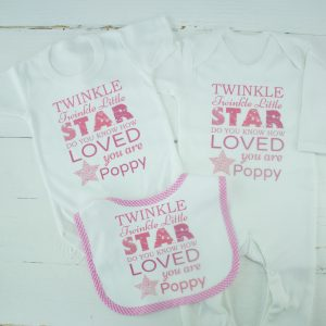 Personalised Girls 'Twinkle Twinkle' Baby Clothes Set