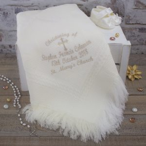 Personalised Ivory Christening/Baptism Shawl