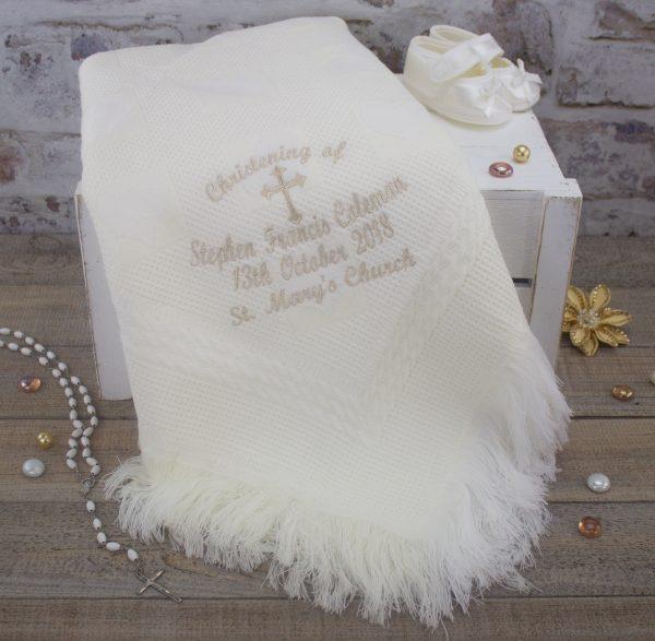 personalised ivory christening shawl